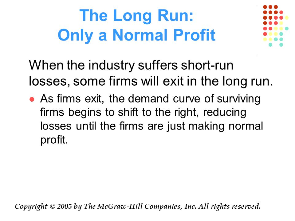 The Long Run: Only a Normal Profit When the industry suffers short-run losses, some firms will exit in the long run.