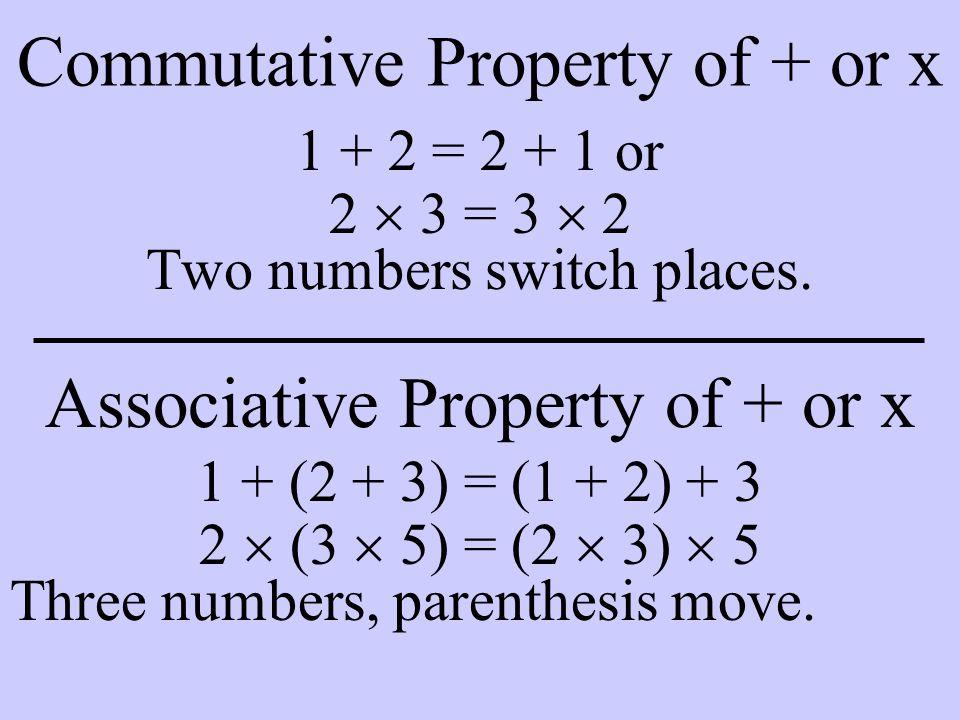 Distributive Property 4  (2 + 3) = 4  2 + 4  3 Multiplication distributes over addition.