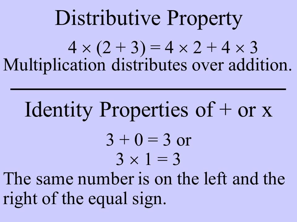 Distributive Property 4  (2 + 3) = 4  2 + 4  3 Multiplication distributes over addition. Identity Properties of + or x 3 + 0 = 3 or 3  1 = 3 The s