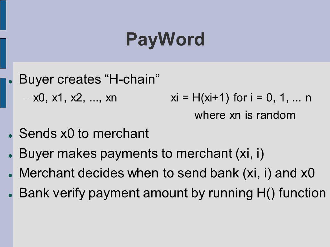 PayWord Buyer creates H-chain  x0, x1, x2,..., xnxi = H(xi+1) for i = 0, 1,...