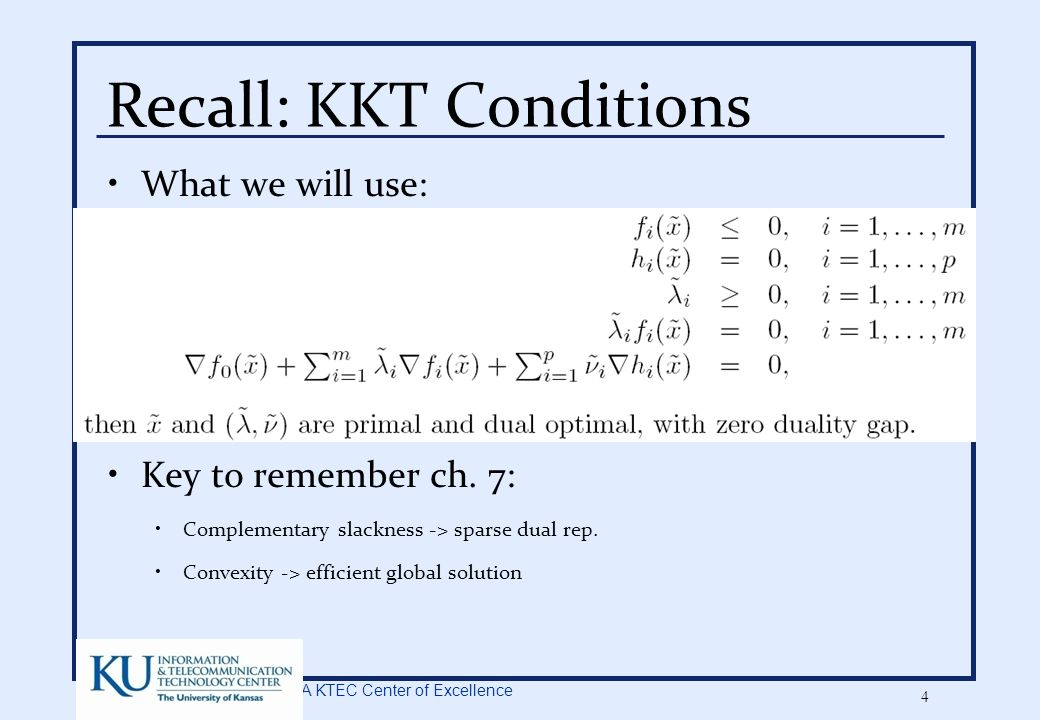 A KTEC Center of Excellence 35 Simple On-line Alg.: Perceptron Threshold linear function At t+1 weight updated if error Dual update rule: If