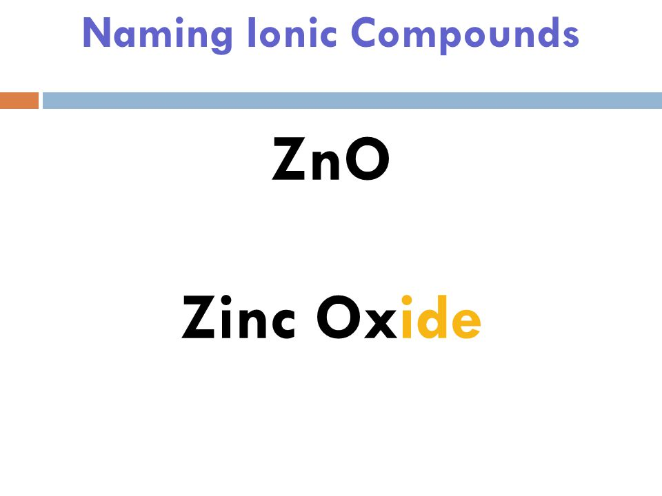 Naming Ionic Compounds ZnO