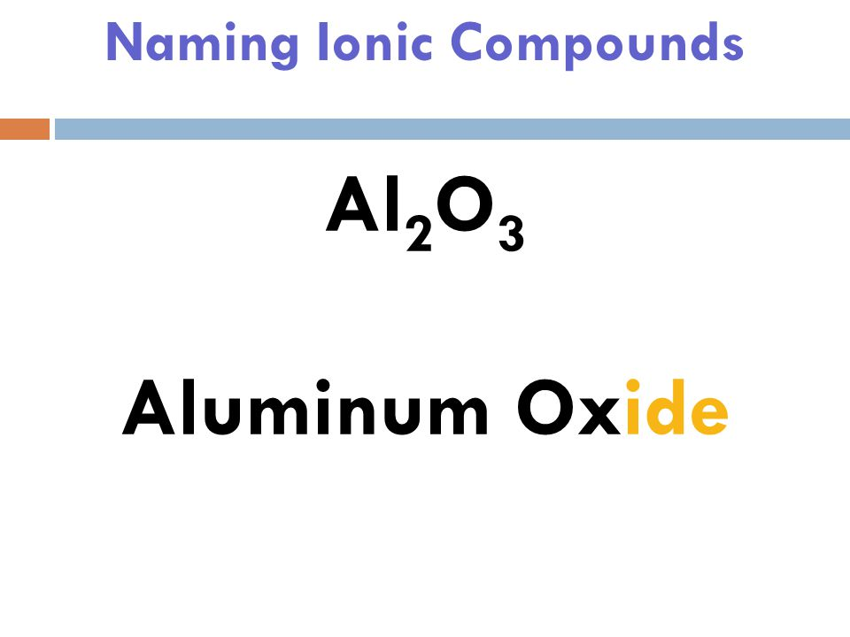 Naming Ionic Compounds Al 2 O 3