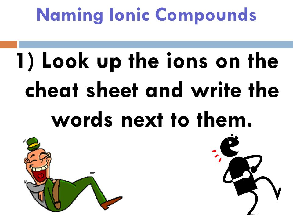 Naming Ionic Compounds The way you use it…