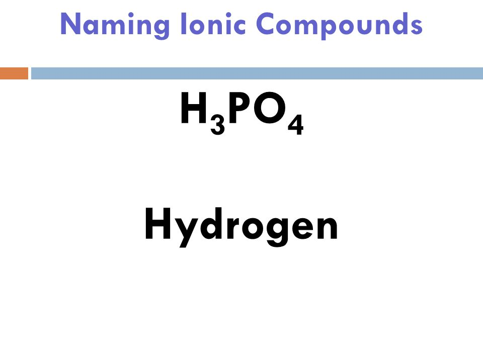 Naming Ionic Compounds H 3 PO 4