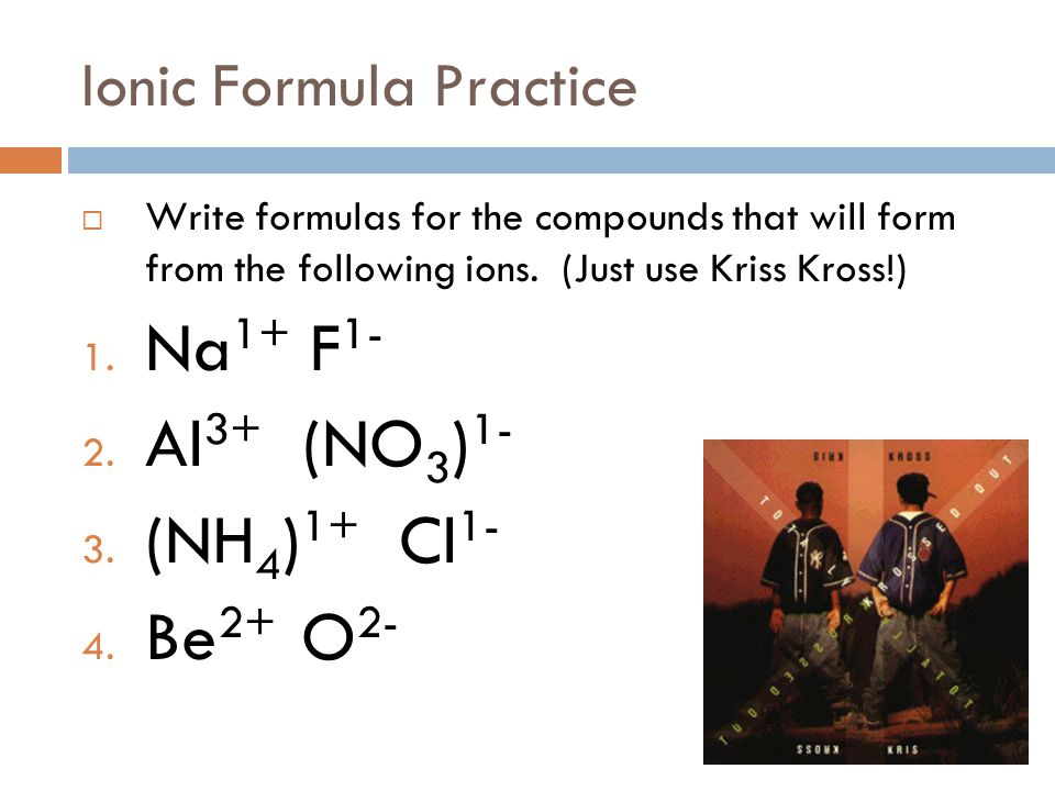 Today's Objectives  SWBAT write formulas for ionic compounds.  SWBAT name ionic compounds.