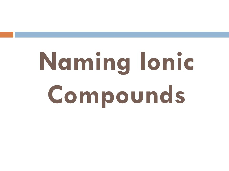 Naming Ionic Compounds FeSO 4