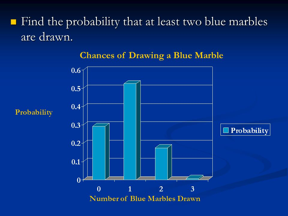 Find the probability that at least two blue marbles are drawn.