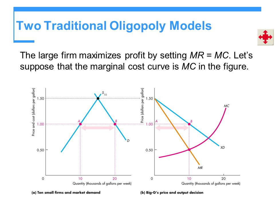 Two Traditional Oligopoly Models The large firm maximizes profit by setting MR = MC. Let's suppose that the marginal cost curve is MC in the figure.