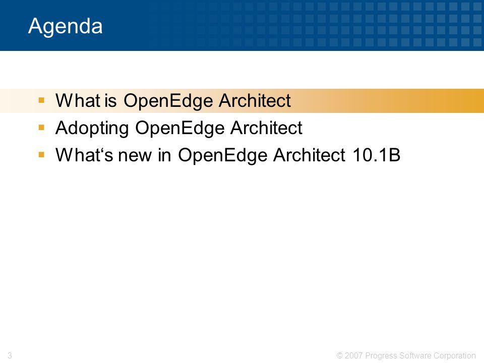 © 2007 Progress Software Corporation14 Agenda  What is OpenEdge Architect  What's new in OpenEdge Architect 10.1B  Adopting OpenEdge Architect