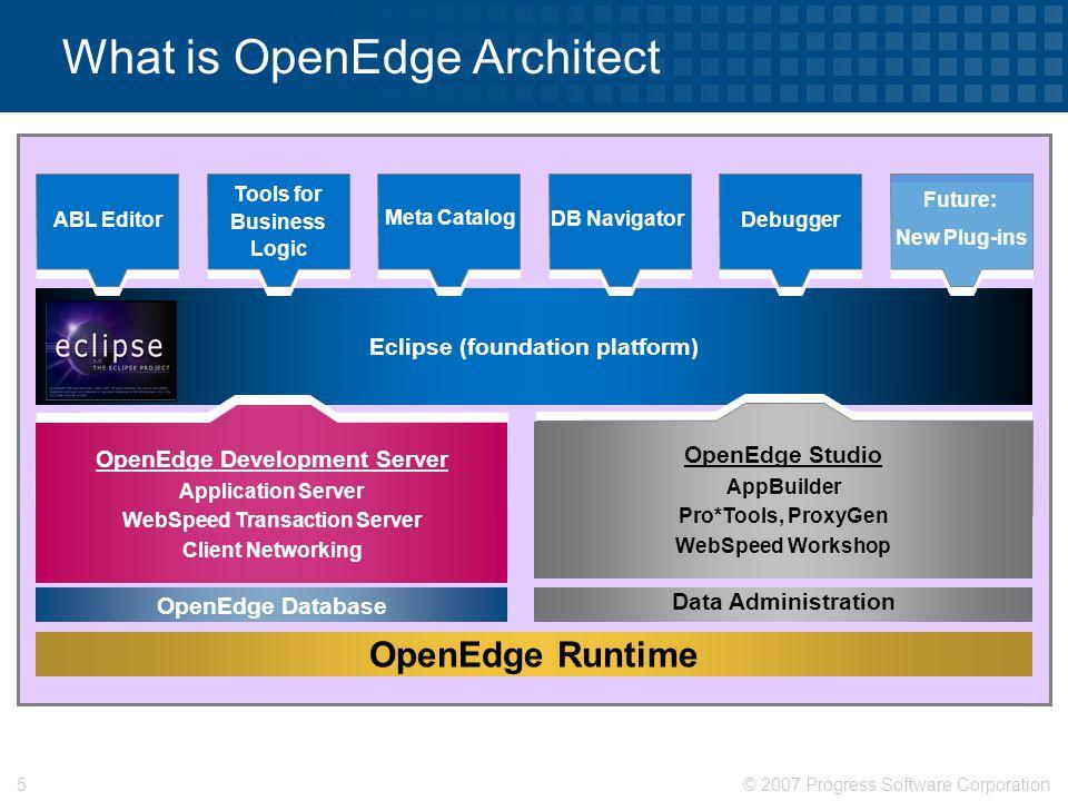 © 2007 Progress Software Corporation6 What is OpenEdge Architect  DB Navigator  Editor  Debugger  Tools for Business Logic  AppBuilder Integrator  Meta Catalog Available Tools