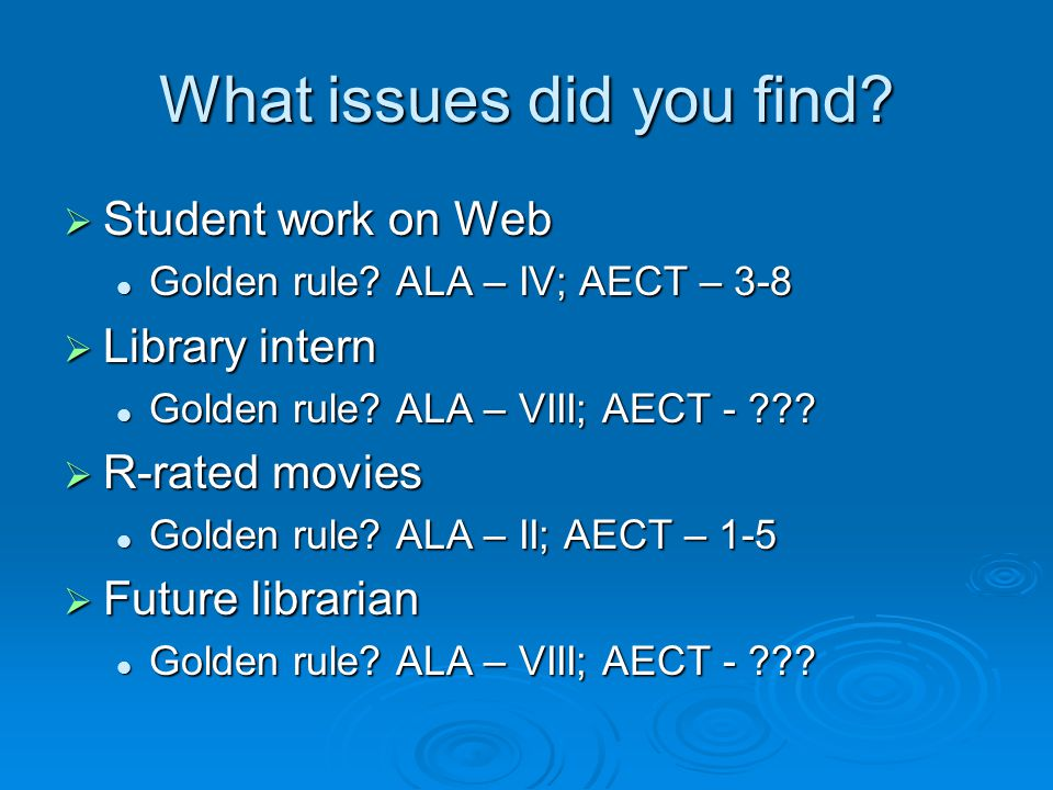 What issues did you find.  Student work on Web Golden rule.
