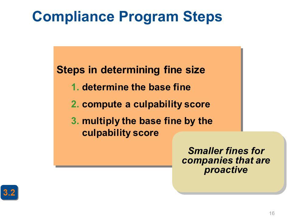16 Steps in determining fine size 1.determine the base fine 2.compute a culpability score 3.multiply the base fine by the culpability score Steps in d