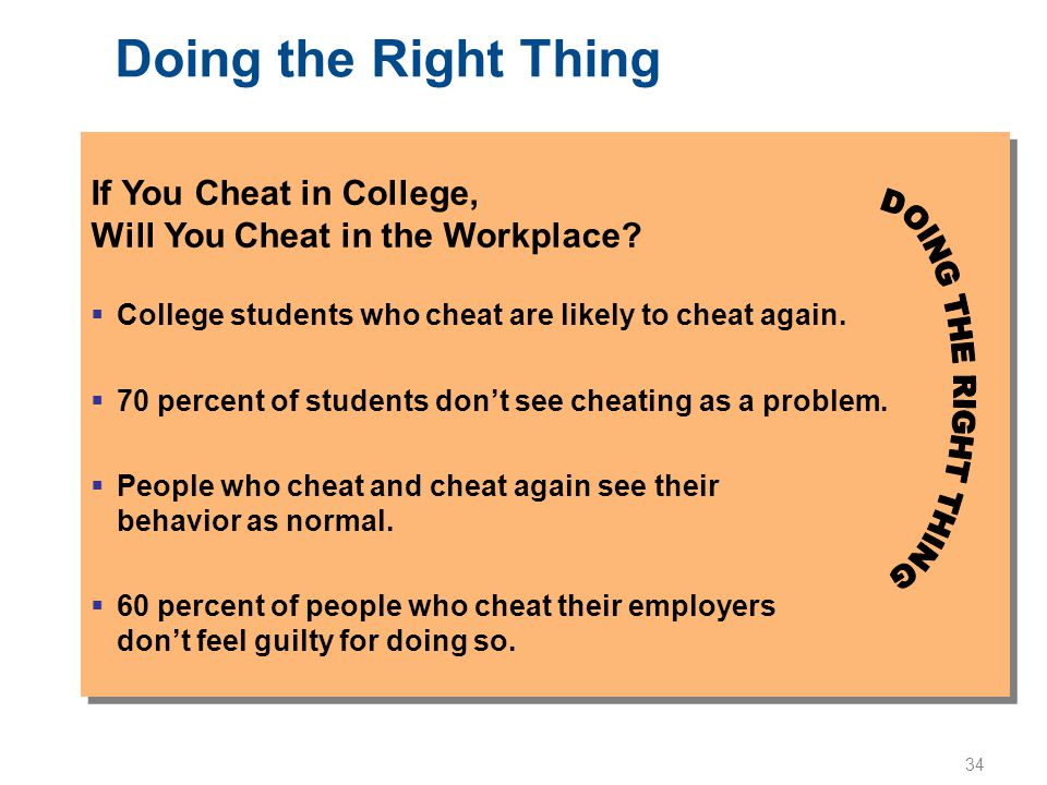34 Doing the Right Thing If You Cheat in College, Will You Cheat in the Workplace?  College students who cheat are likely to cheat again.  70 percen