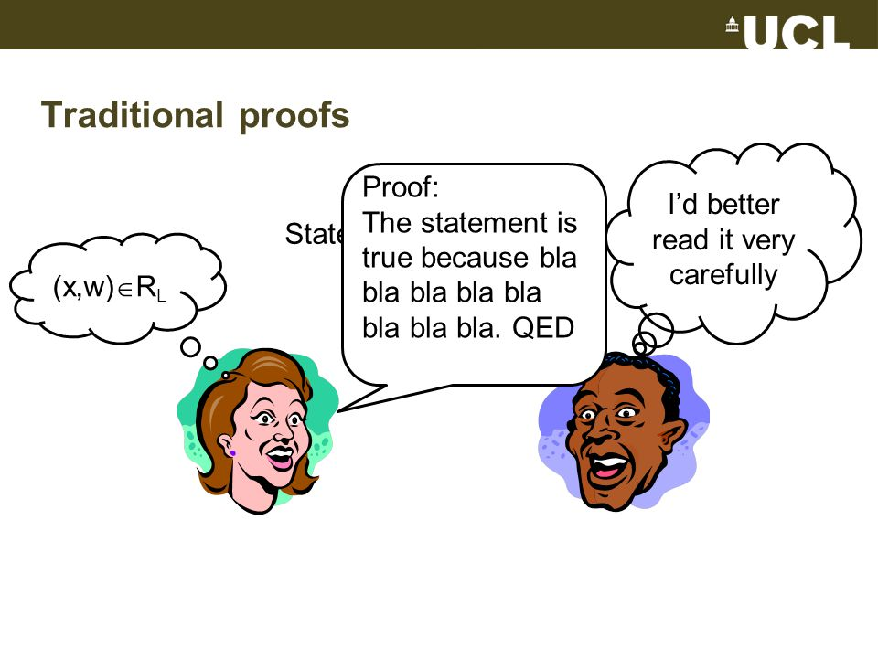 Traditional proofs Statement: x  L (x,w)  R L Proof: The statement is true because bla bla bla bla bla bla bla bla.
