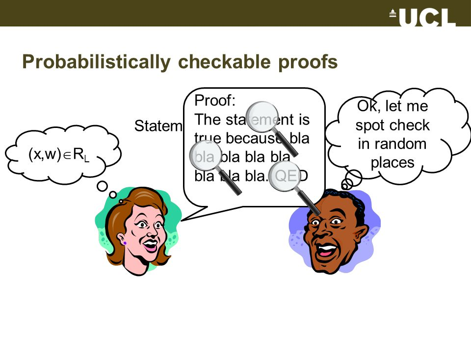Probabilistically checkable proofs Statement: x  L (x,w)  R L Proof: The statement is true because bla bla bla bla bla bla bla bla.