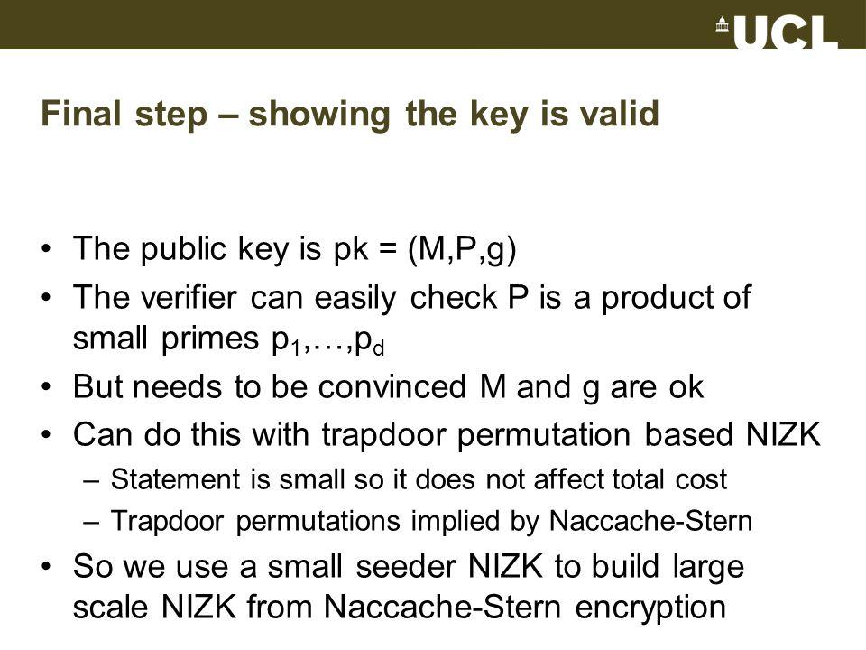 Summary Technique 1: Reduce soundness error with probabilistically checkable proofs Technique 2: Implement hidden random bit string with Naccache-Stern encryption Hidden bitsProof in bitsAssumption Kilian-Petrank |C|∙k T ∙k∙  (log k) Trapdoor perms This work|C|∙k T ∙polylog(k) Trapdoor perms CRS in bitsProof in bitsAssumption Gentrypoly(k)|w|∙poly(k)Lattice-based + NIZK G-Ostrovsky-Sahaik 3 /polylog(k)|C|∙k 3 /polylog(k)Pairing-based This talk|C|∙polylog(k) Naccache-Stern Other workpoly(k)|w| + poly(k)FHE + NIZK