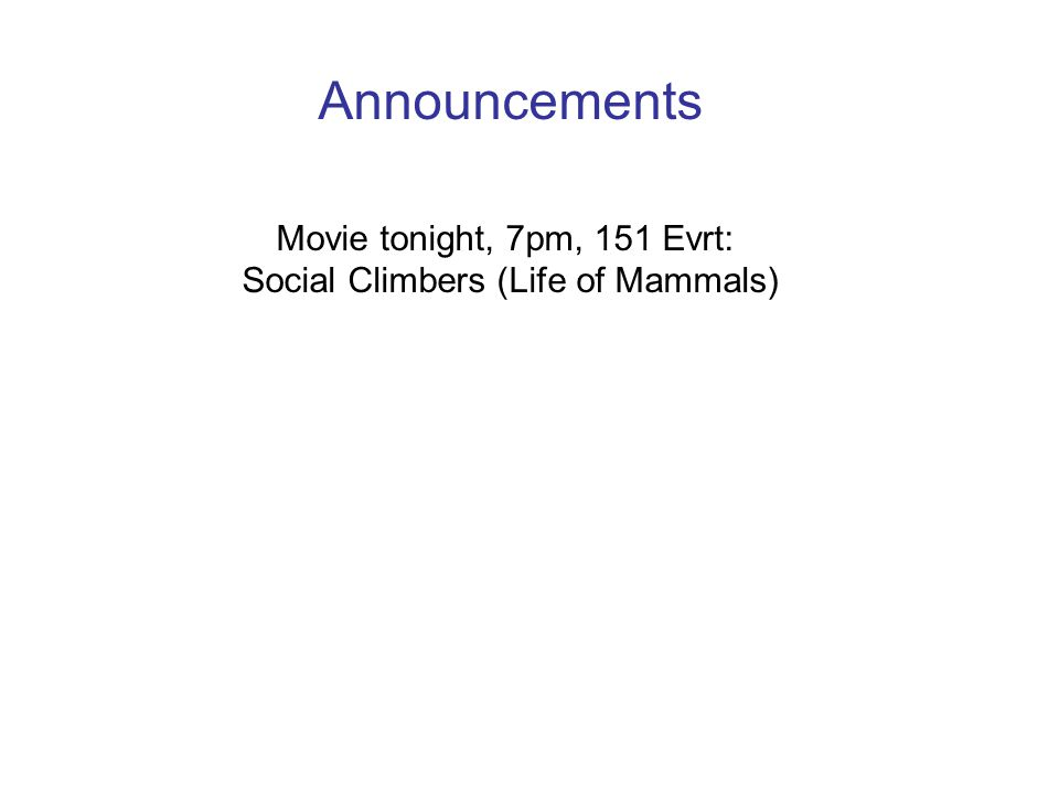 Announcements Movie tonight, 7pm, 151 Evrt: Social Climbers (Life of Mammals)