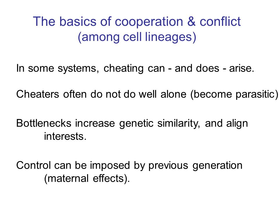 The basics of cooperation & conflict (among cell lineages) Cheaters often do not do well alone (become parasitic). Bottlenecks increase genetic simila