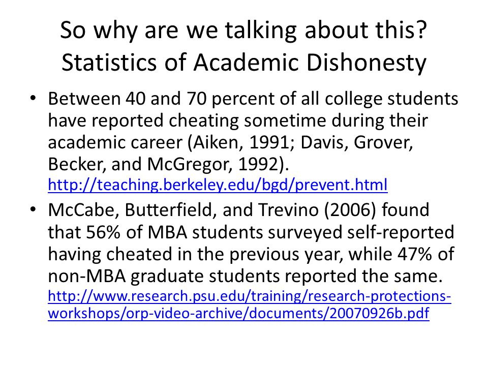 So why are we talking about this? Statistics of Academic Dishonesty Between 40 and 70 percent of all college students have reported cheating sometime