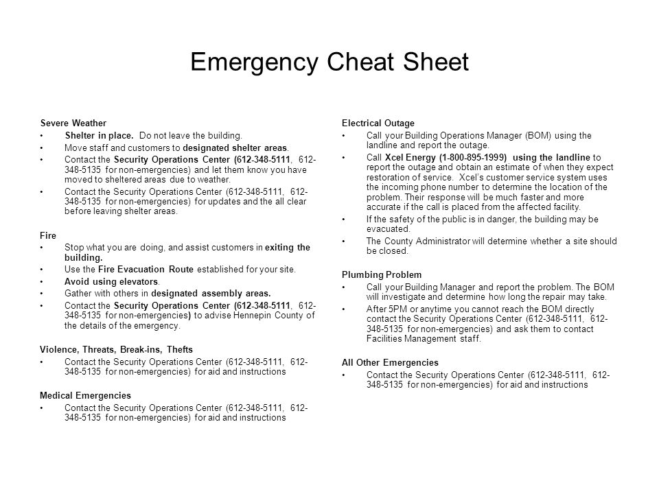 Emergency Cheat Sheet Severe Weather Shelter in place.