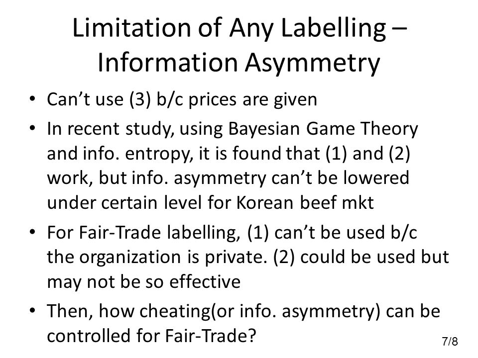 7/8 Limitation of Any Labelling – Information Asymmetry Can't use (3) b/c prices are given In recent study, using Bayesian Game Theory and info.