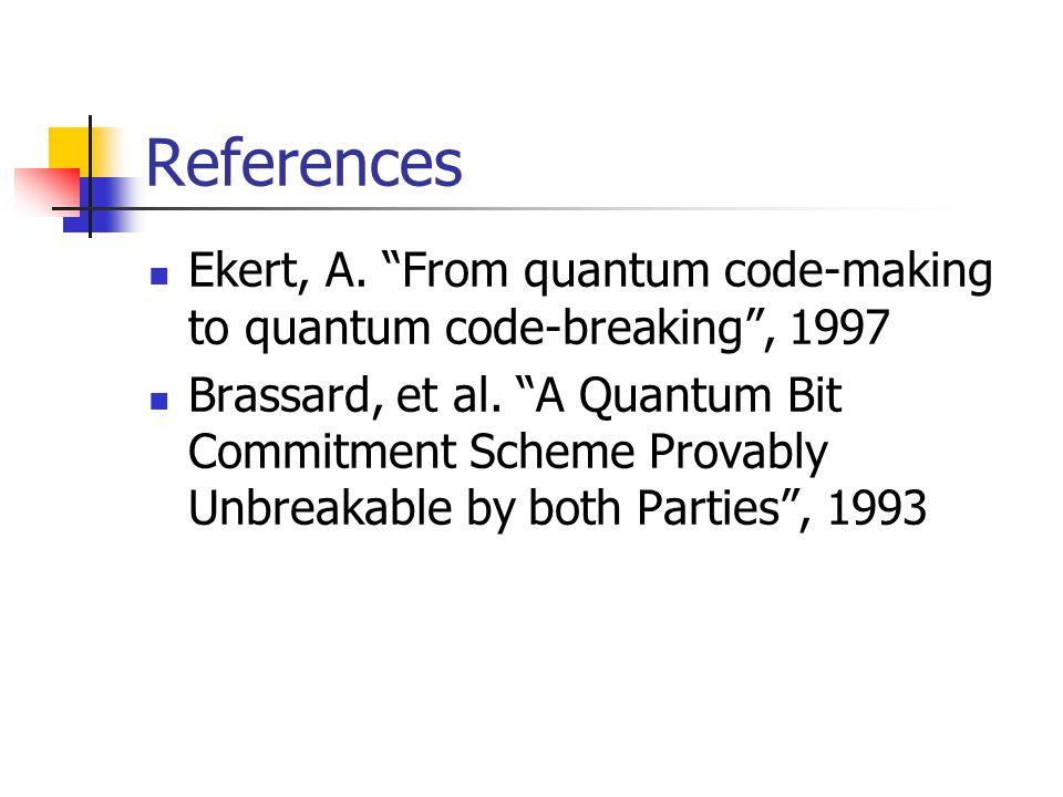References Ekert, A. From quantum code-making to quantum code-breaking , 1997 Brassard, et al.