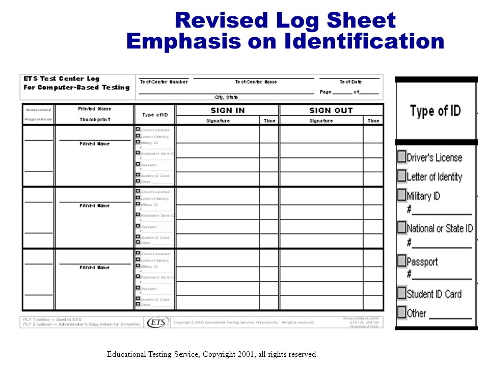 Educational Testing Service, Copyright 2001, all rights reserved Revised Log Sheet Emphasis on Identification