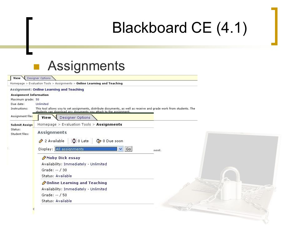Blackboard CE (4.1) Assignments