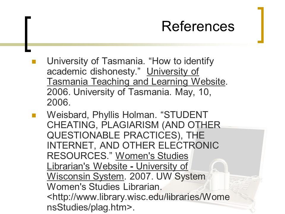 References University of Tasmania.