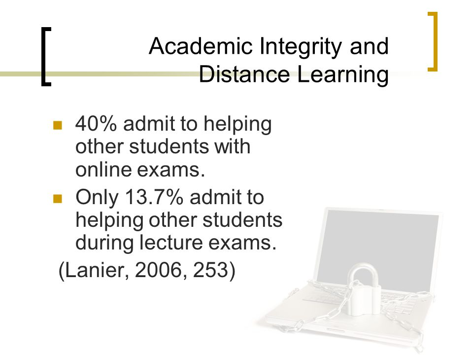Academic Integrity and Distance Learning 40% admit to helping other students with online exams.