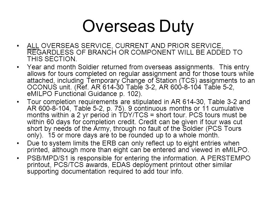 10 Overseas Duty All Service Cur And Prior Regardless Of Branch Or Component Will Be Added To This Section