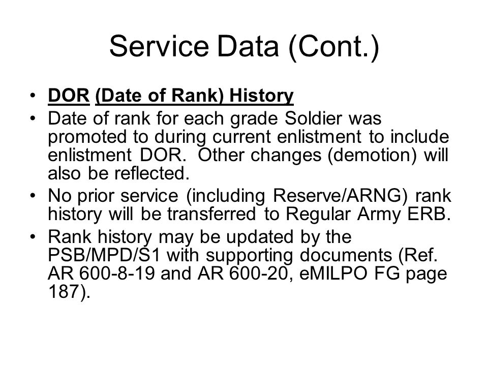 28 Service Data Cont Dor Date Of Rank History For Each Grade Solr Was Promoted To During Cur Enlistment Include