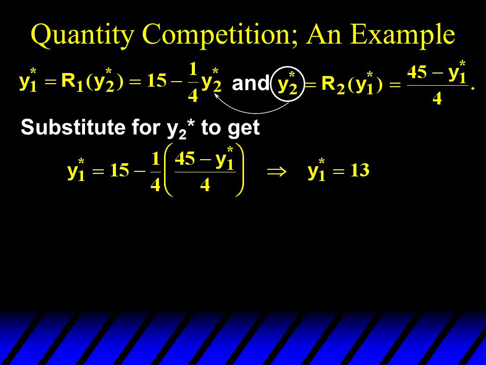 Quantity Competition; An Example and Substitute for y 2 * to get
