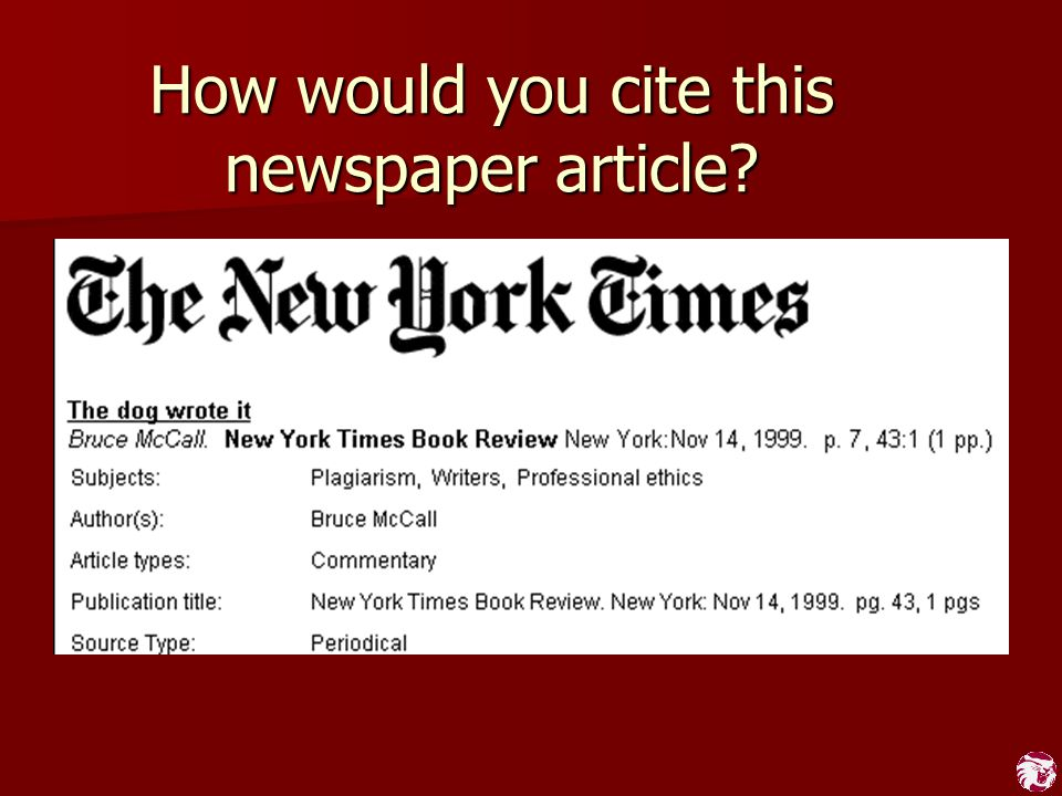 How would you cite this newspaper article?