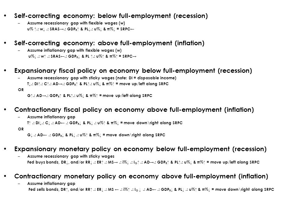 Self-correcting economy: below full-employment (recession) – Assume recessionary gap with flexible wages (w) u% ↑.: w↓.: SRAS→.: GDP R ↑ & PL↓.: u%↓ & π%↓ = SRPC← Self-correcting economy: above full-employment (inflation) – Assume inflationary gap with flexible wages (w) u%↓.: w↑.: SRAS←.: GDP R ↓ & PL ↑.: u%↑ & π%↑ = SRPC→ Expansionary fiscal policy on economy below full-employment (recession) – Assume recessionary gap with sticky wages (note: DI = disposable income) T↓.: DI↑.: C↑.: AD→.: GDP R ↑ & PL↑.: u%↓ & π%↑ = move up/left along SRPC OR G↑.: AD→.: GDP R ↑ & PL↑.: u%↓ & π%↑ = move up/left along SRPC Contractionary fiscal policy on economy above full-employment (inflation) – Assume inflationary gap T↑.: DI↓.: C↓.: AD←.: GDP R ↓ & PL↓.: u%↑ & π%↓ = move down\right along SRPC OR G↓.: AD←.: GDP R ↓ & PL↓.: u%↑ & π%↓ = move down\right along SRPC Expansionary monetary policy on economy below full-employment (recession) – Assume recessionary gap with sticky wages Fed buys bonds, DR↓, and/or RR↓.: ER↑.: MS→.: i%↓.: I G ↑.: AD→.: GDP R ↑ & PL↑.: u%↓ & π%↑ = move up/left along SRPC Contractionary monetary policy on economy above full-employment (inflation) – Assume inflationary gap Fed sells bonds, DR↑, and/or RR↑.: ER↓.: MS ←.: i%↑.: I G ↓.: AD←.: GDP R ↓ & PL↓.: u%↑ & π%↓ = move down\right along SRPC