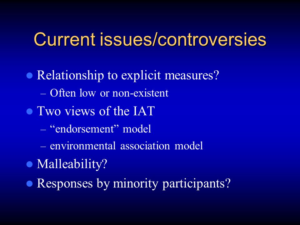 Current issues/controversies Relationship to explicit measures.