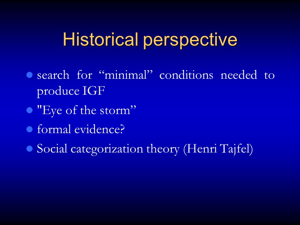 Historical perspective search for minimal conditions needed to produce IGF Eye of the storm formal evidence.