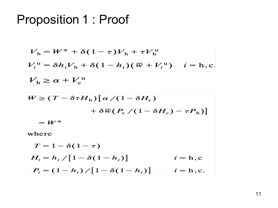 11 Proposition 1 : Proof