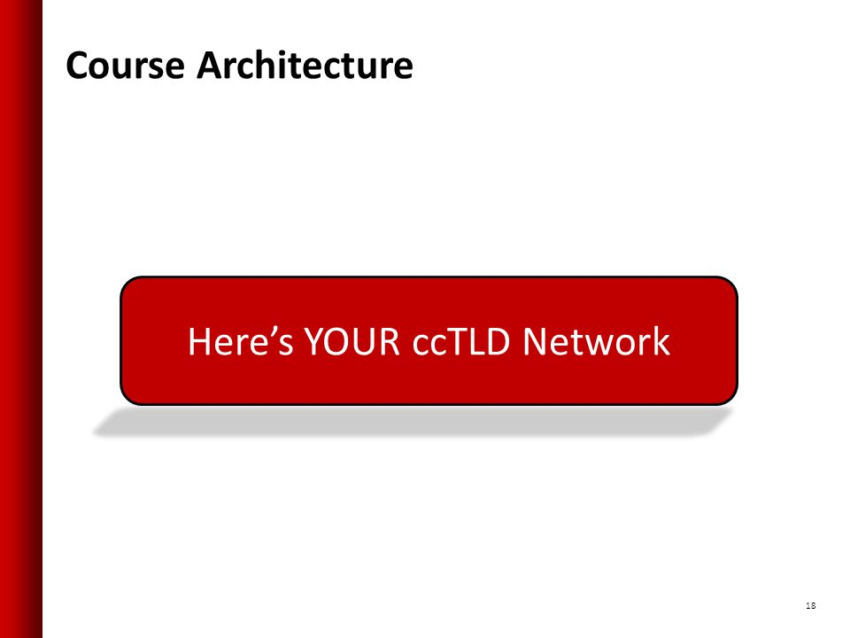 Course Architecture 18 Here's YOUR ccTLD Network