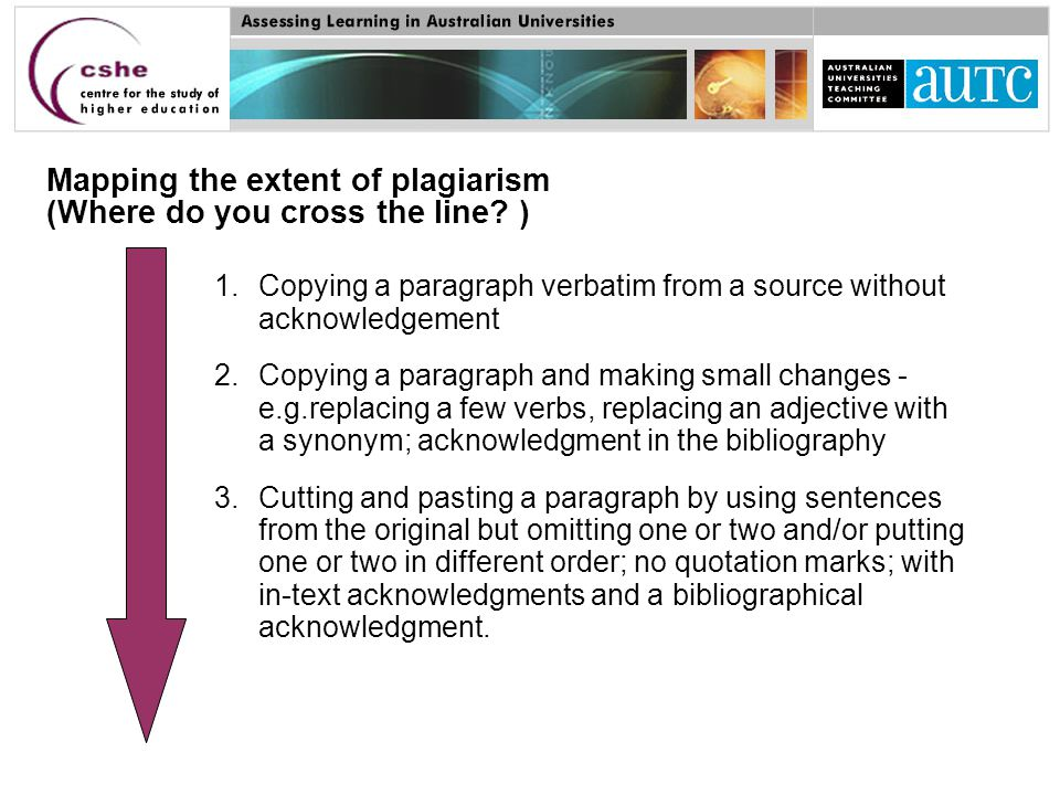 1.Copying a paragraph verbatim from a source without acknowledgement 2.Copying a paragraph and making small changes - e.g.replacing a few verbs, replacing an adjective with a synonym; acknowledgment in the bibliography 3.Cutting and pasting a paragraph by using sentences from the original but omitting one or two and/or putting one or two in different order; no quotation marks; with in-text acknowledgments and a bibliographical acknowledgment.