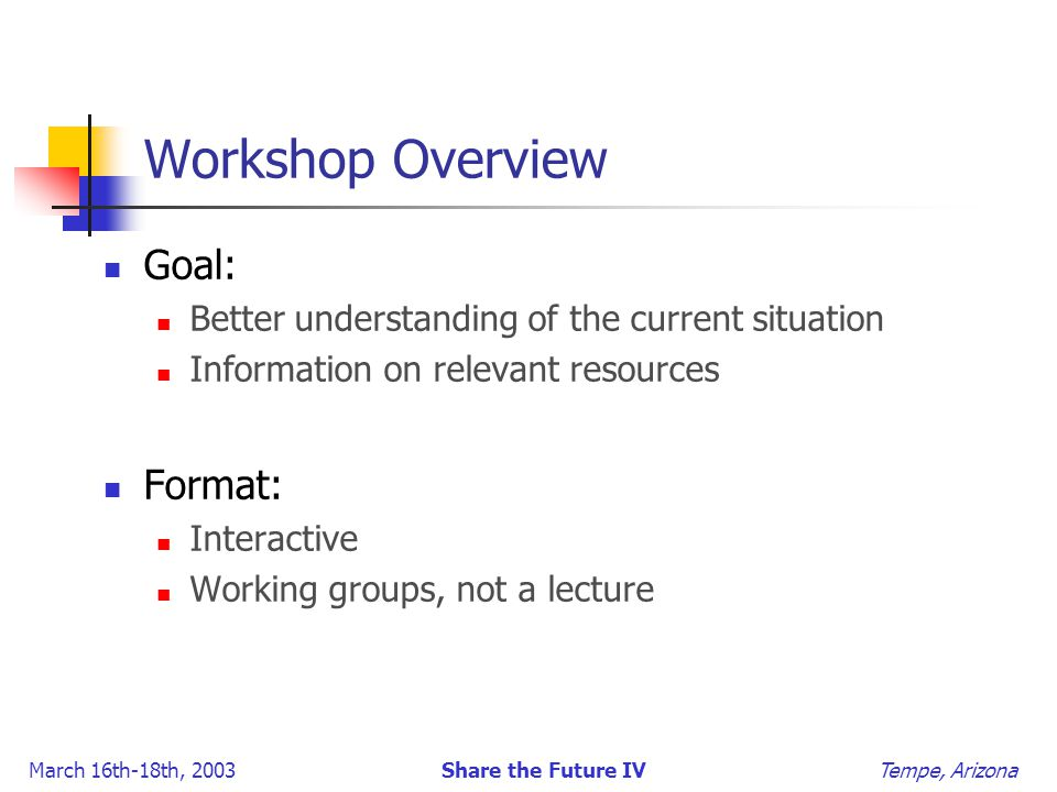 March 16th-18th, 2003 Share the Future IV Tempe, Arizona Workshop Overview Goal: Better understanding of the current situation Information on relevant resources Format: Interactive Working groups, not a lecture