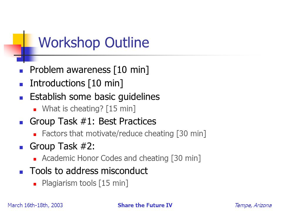 March 16th-18th, 2003 Share the Future IV Tempe, Arizona Workshop Outline Problem awareness [10 min] Introductions [10 min] Establish some basic guidelines What is cheating.