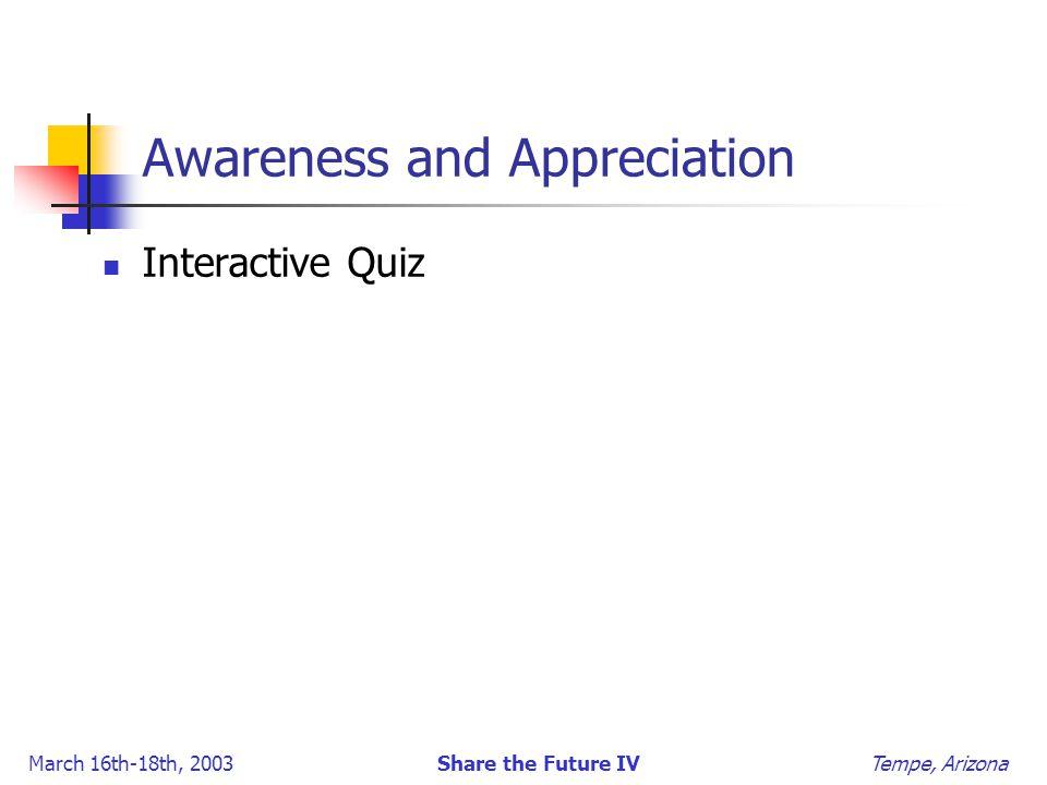 March 16th-18th, 2003 Share the Future IV Tempe, Arizona Awareness and Appreciation Interactive Quiz