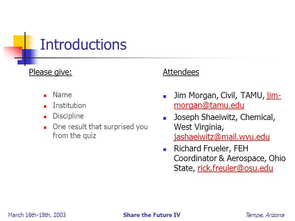 March 16th-18th, 2003 Share the Future IV Tempe, Arizona Introductions Please give: Name Institution Discipline One result that surprised you from the quiz Attendees Jim Morgan, Civil, TAMU, jim- morgan@tamu.edujim- morgan@tamu.edu Joseph Shaeiwitz, Chemical, West Virginia, jashaeiwitz@mail.wvu.edu jashaeiwitz@mail.wvu.edu Richard Frueler, FEH Coordinator & Aerospace, Ohio State, rick.freuler@osu.edurick.freuler@osu.edu