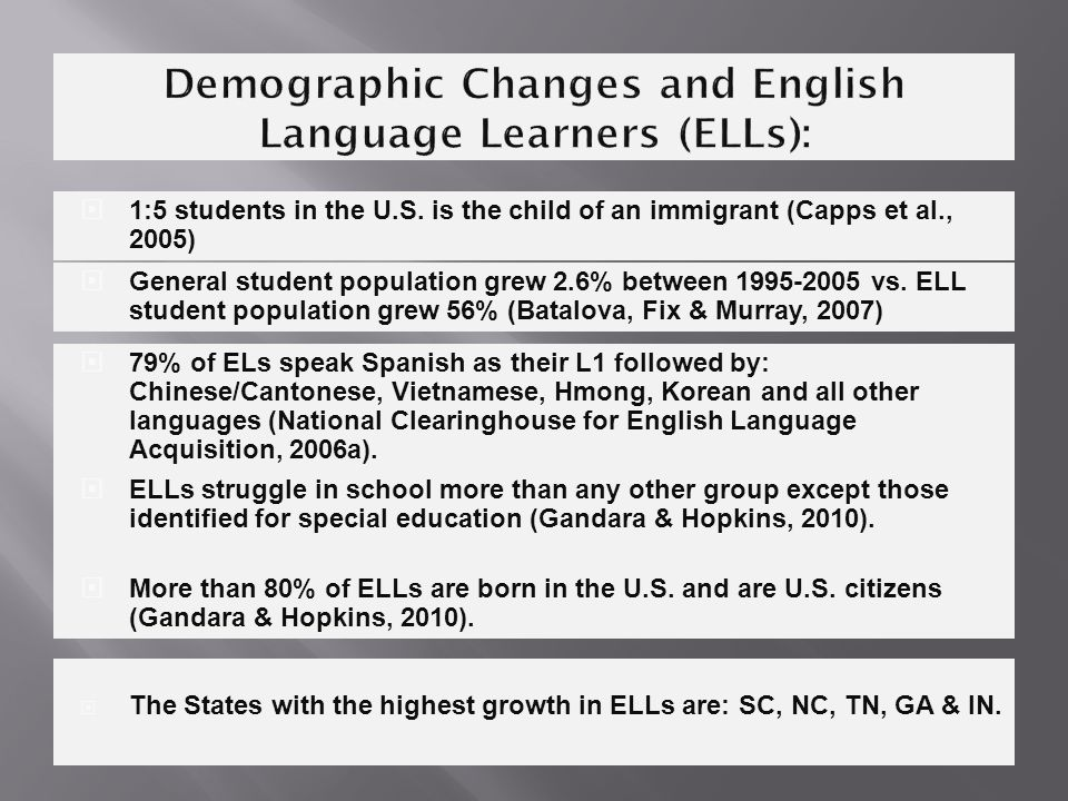  The States with the highest growth in ELLs are: SC, NC, TN, GA & IN.