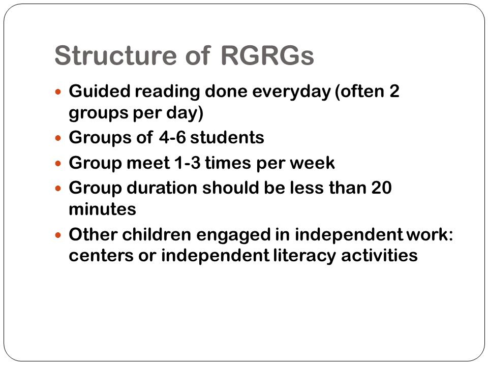 What matters Hearing each child read Using correct level text Having them leave with something In their pocket Engaging the rest of the class in independent literacy activities Doing it the same way every time Hearing children make errors Teaching reading, not teaching a particular text