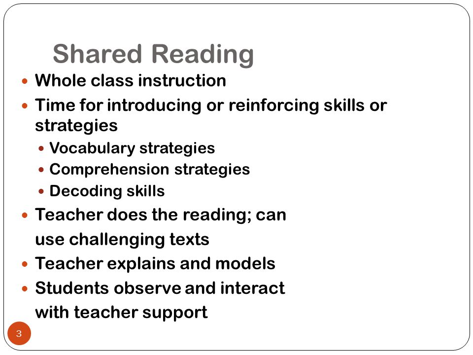 Guided Reading Small group instruction in homogeneous groups Time for students to practice, with support, what they have learned during shared reading Student reads instructional level texts and teacher provides support as needed Rest of the class is working independently 4