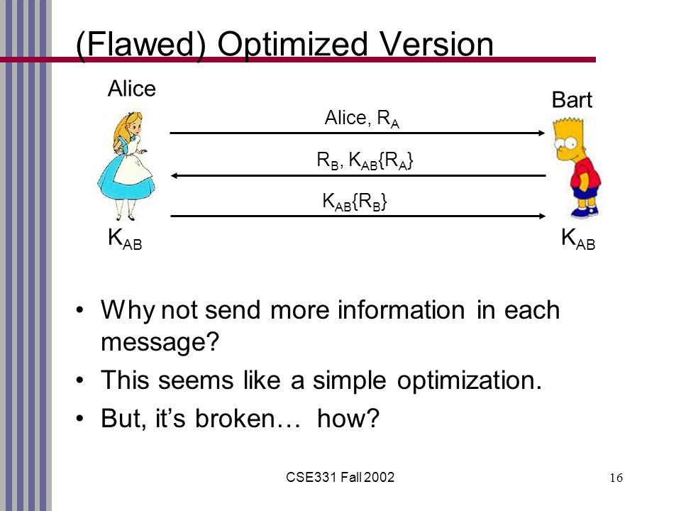 CSE331 Fall 200216 (Flawed) Optimized Version Why not send more information in each message.