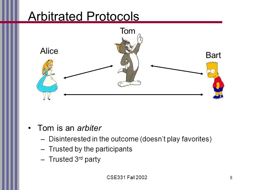 CSE331 Fall 20028 Arbitrated Protocols Tom is an arbiter –Disinterested in the outcome (doesn't play favorites) –Trusted by the participants –Trusted 3 rd party Alice Bart Tom
